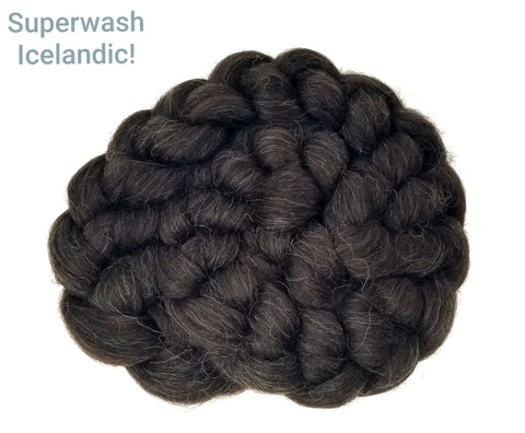Superwash Black Icelandic Wool combed top - undyed 3.5oz