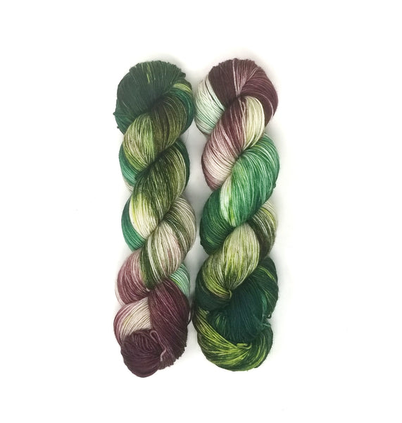 English Garden - Hand dyed yarn -  Fingering to bulky- mauve green