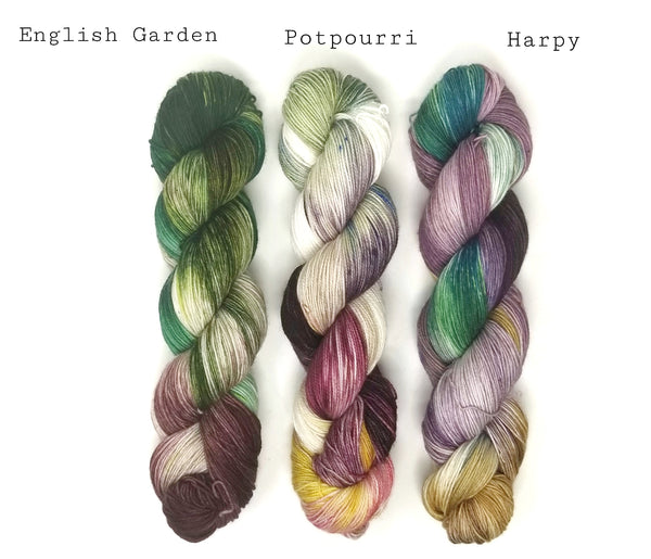 Fade Set - English Garden Potpourri Harpy- 3 100g skeins of Hand dyed - yarn set