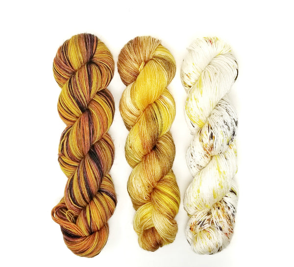 Fade Yarn Set - Honey Hive Hidden Temple Banana Breakfast-  3 100g skeins of Hand dyed