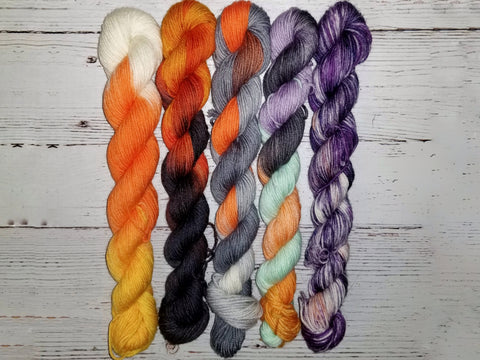 Halloween Mini Yarn set - 5 different colorways - Hand dyed yarn