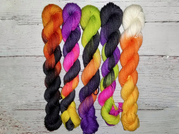 Bright Halloween mini yarn set - 5 different colorways - Hand dyed yarn