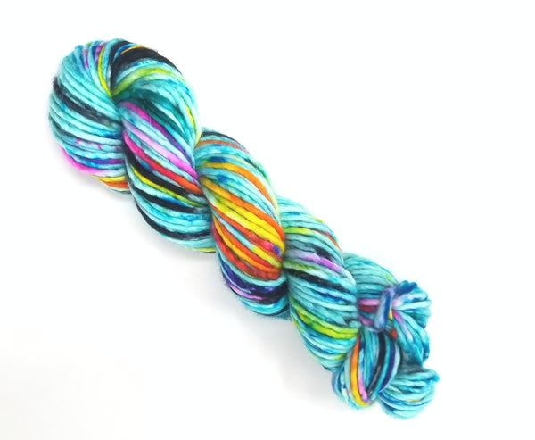 Ride the Tide - Hand dyed yarn - SW Merino lace to bulky blue rainbow