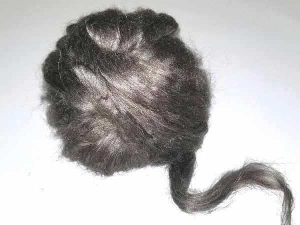 Peduncle silk combed top - 1oz - natural peace silk brown silver color