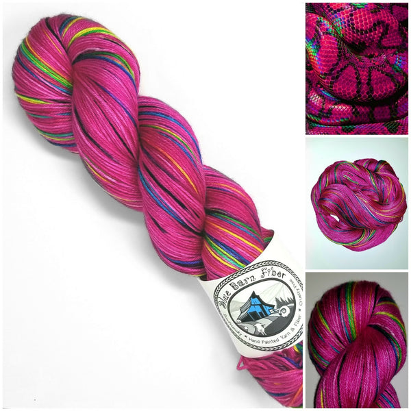 Nagini - Hand dyed yarn - Hand painted yarn - SW Merino Fingering Weight  400+ yards - Select your base - pink rainbow black