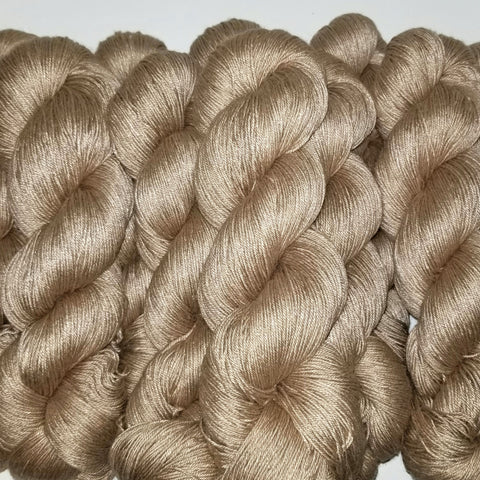 Brendan - Fingering Weight - 50/50 Camel/Silk- Undyed Yarn Naked