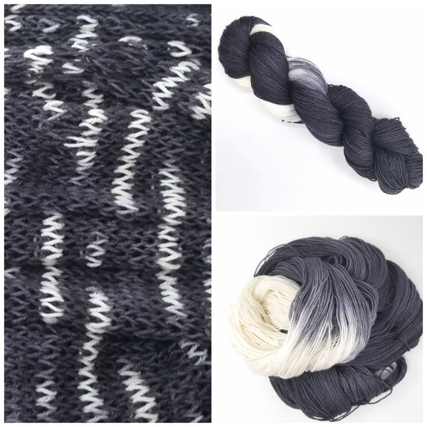 Salt & Pepper - Hand dyed yarn - Hand painted yarn - SW Merino Fingering Weight  400+ yards - Select your base - black white