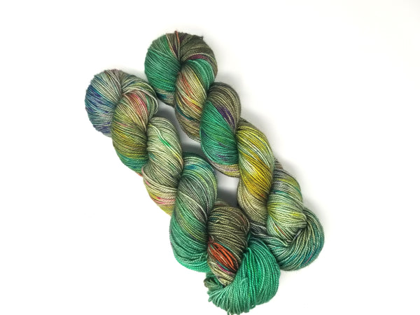 Smudge Stick-  Hand dyed yarn Merino Fingering Weight sage moss emerald green