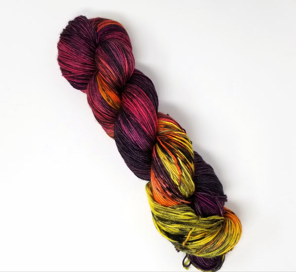 Smoke at Sunset-  Hand dyed yarn - SW Merino Fingering Weight black red orange yellow