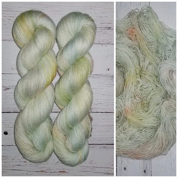 Iridescent -  Hand dyed yarn - pastel sage yellow orange