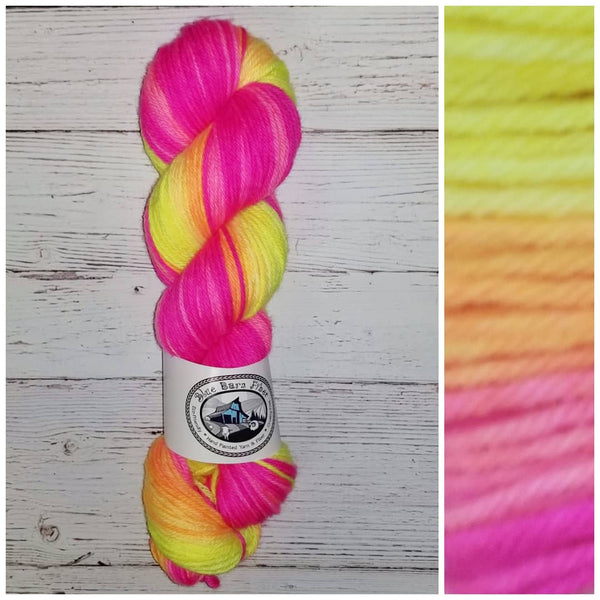 GRADIENT - Neon Flower - Hand dyed yarn Fingering 400+ yards florescent fuchsia to orange to yellow