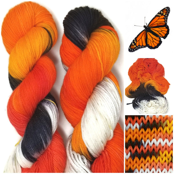 Monarch - Hand dyed yarn -  Fingering to bulky- orange black white