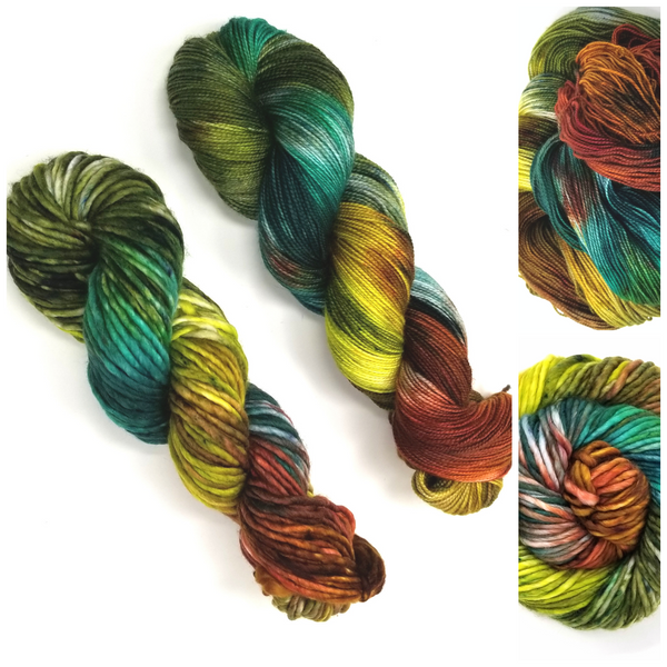 Redwood Dreams- Hand dyed yarn - red brown green