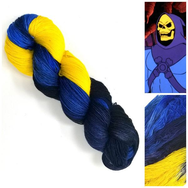 Skeletor - Hand dyed yarn - black yellow blue
