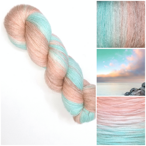 Seashore Sunrise GRADIENT-  Hand dyed yarn - lace to worsted weight