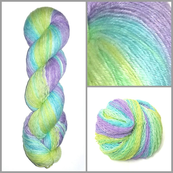 GRADIENT - Baby Beauty - Hand dyed yarn pastel purple blue green