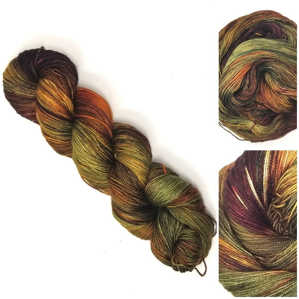 Autumn Acorn- Hand dyed yarn -  Fingering to bulky- brown green