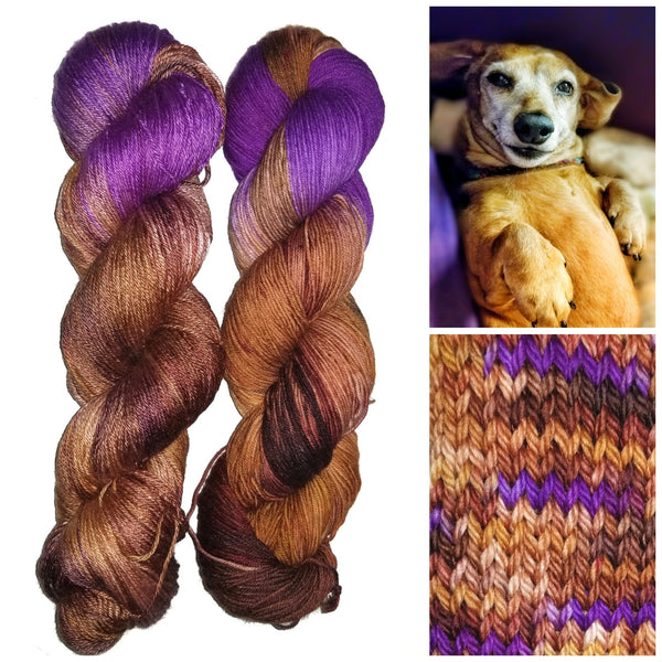 Hisella - Hand dyed yarn -  Fingering to bulky- brown purple