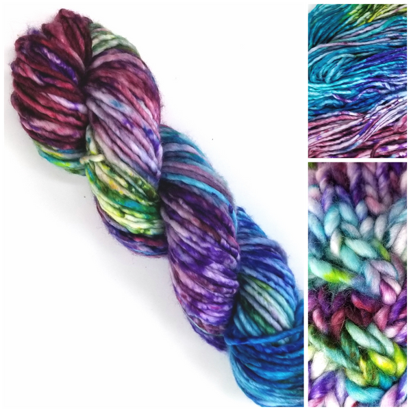 Speckled Beauty - Hand dyed yarn - SW Merino Purple Blue Green