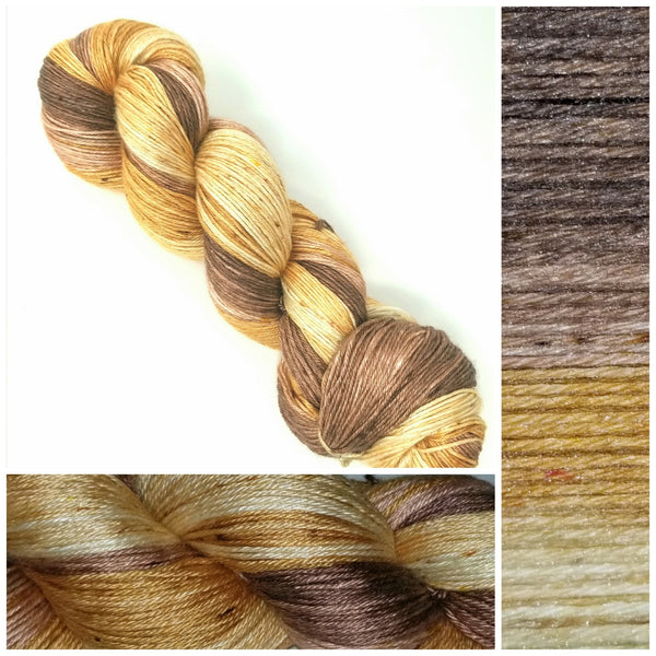 GRADIENT - Warm Squid-  Hand dyed yarn - SW Merino Fingering Weight 400+ yards -choose your base- knitting crocheting weaving- brown oatmeal cream