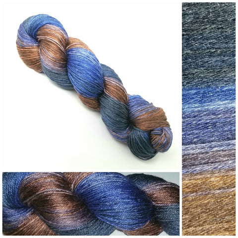 GRADIENT - Dark Squid-  Hand dyed yarn - SW Merino Fingering Weight 400+ yards -choose your base- knitting crocheting weaving- Black blue periwinkle brown