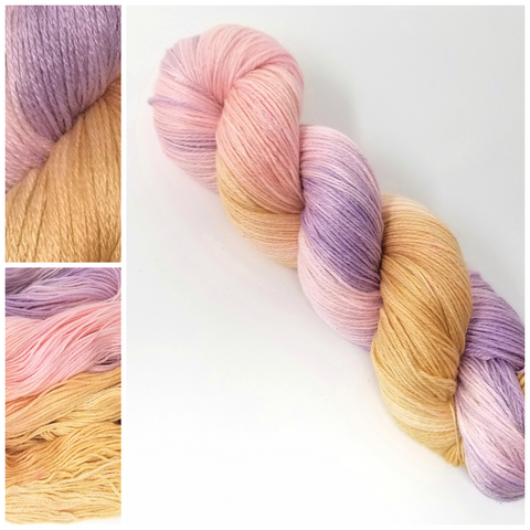 Sweetie Pie - Hand dyed yarn - Hand painted yarn - SW Merino Fingering Weight  400+ yards - Select your base - pastel pink purple caramel