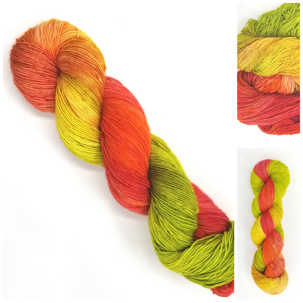 Glowing Pumpkin - Hand dyed yarn - SW Merino Fingering - orange green