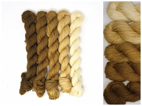 Aged Brass - mini skein set of 5 solid colored skeins - Hand dyed yarn