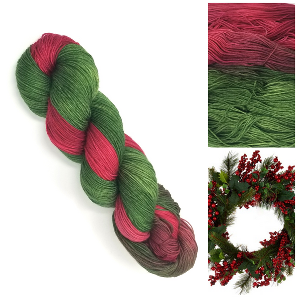 Holly Wreath - Hand dyed variegated yarn - Merino Fingering to worsted