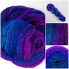 Twilight GRADIENT -  Hand dyed yarn - Merino Fingering  turquoise blue to violet purple