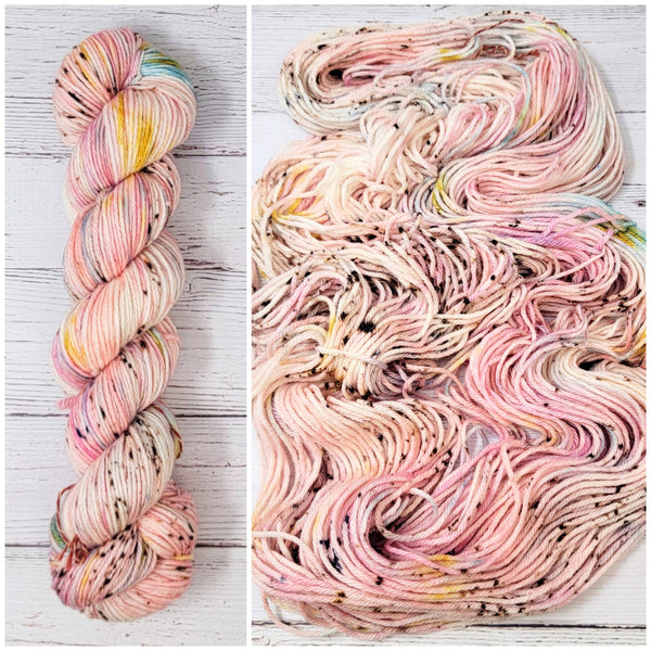 Bubblegum Babe - Hand dyed variegated speckled yarn - Merino Fingering to worsted pink teal yellow brown speckles