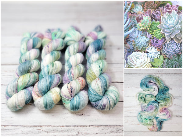 Succulent Garden - Hand dyed Yarn - pastel green teal purple pink