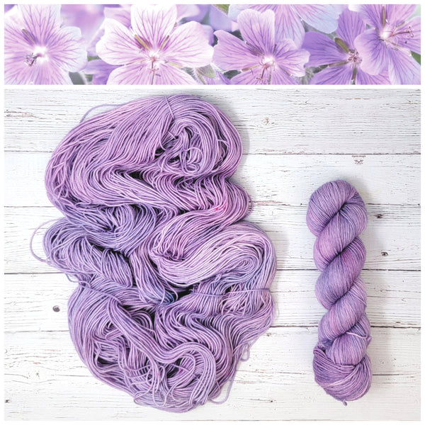 Blossom - Hand dyed deconstructed variegated yarn - Merino Fingering to worsted pastel purple lilac violet lavender