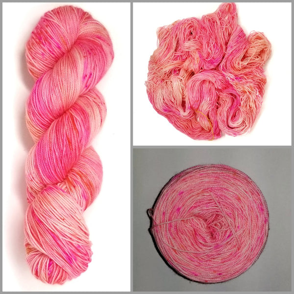 It's My Party - Hand dyed yarn -  Fingering to bulky- pink and peach