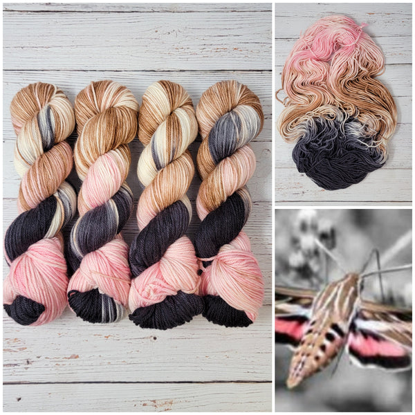 Nectar Sucker - Hand dyed yarn, Fingering to worsted, brown pink black white