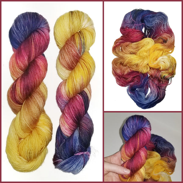 Purple Chicken - Hand dyed yarn -  Fingering to bulky- purple burgundy caramel gold yellow