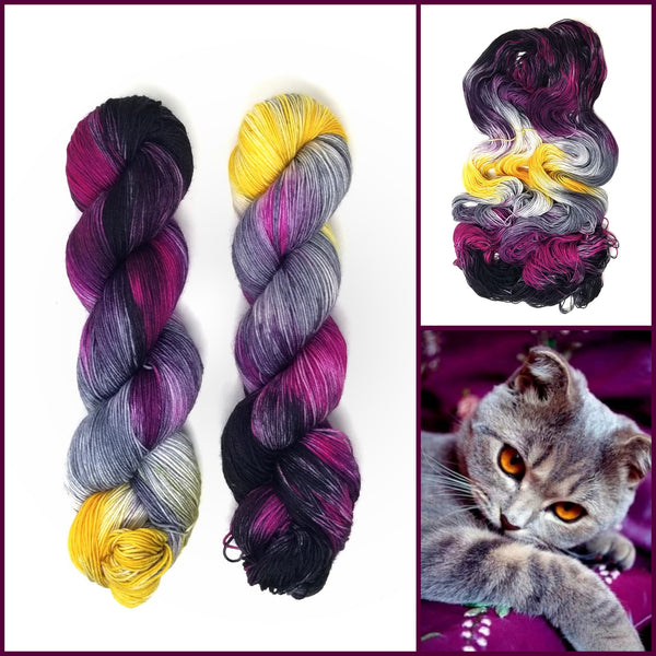 Queen of the Castle - Hand dyed yarn -  Fingering to bulky- black magenta grey yellow gold