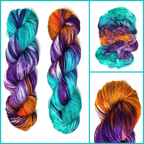 Back from the Edge - Hand dyed yarn -  Fingering to bulky- orange aqua blue violet purple