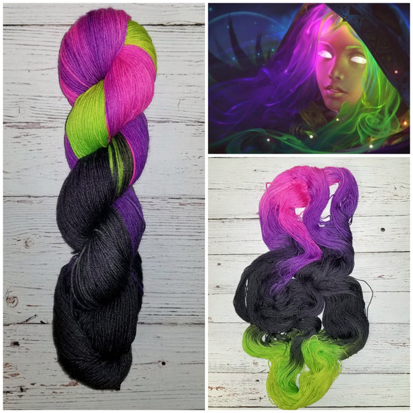 Wicked -  Hand dyed variegated palindrome yarn - pink purple black lime green Halloween colors