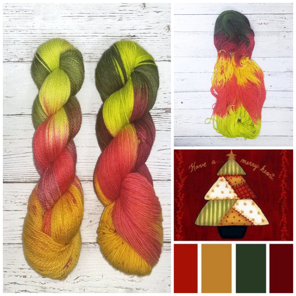 Patchwork Christmas - Hand dyed variegated yarn - Merino Fingering to worsted