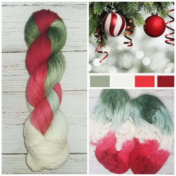 That Christmas Smell - Hand dyed variegated yarn - Merino Fingering to worsted
