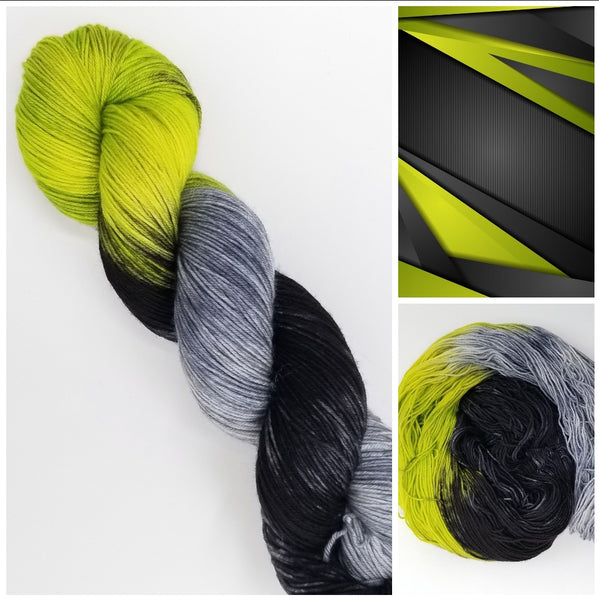 Tech -  Hand dyed yarn - Merino Fingering black grey green gray variegated