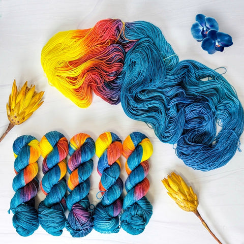 Blue Blooms - Hand dyed sock yarn - teal blue orange yellow red