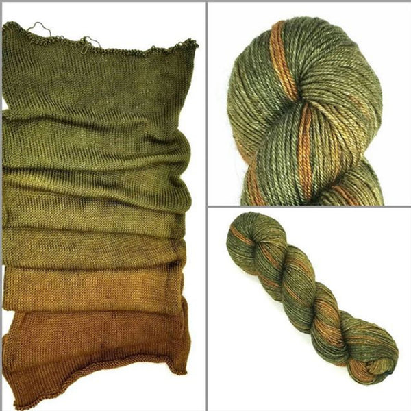 GRADIENT- Acorn Hand dyed yarn -SW Merino Fingering  brown moss green