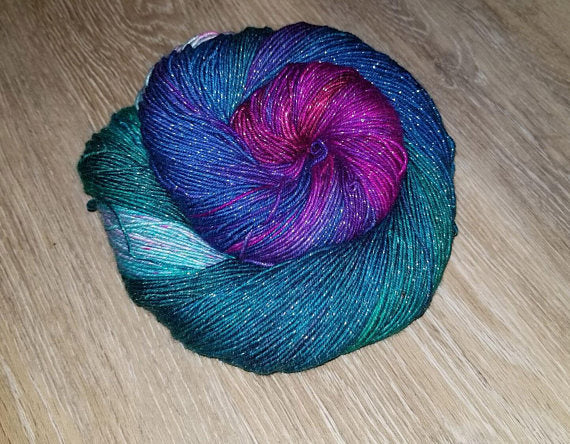 Across Space & Time- Hand dyed yarn - Hand painted yarn - SW Merino Fingering Weight  400+ yards - Select your base - blue purple magenta