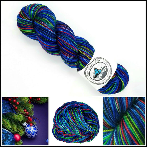 Bobbles - Hand dyed yarn - Hand painted yarn blue red green black