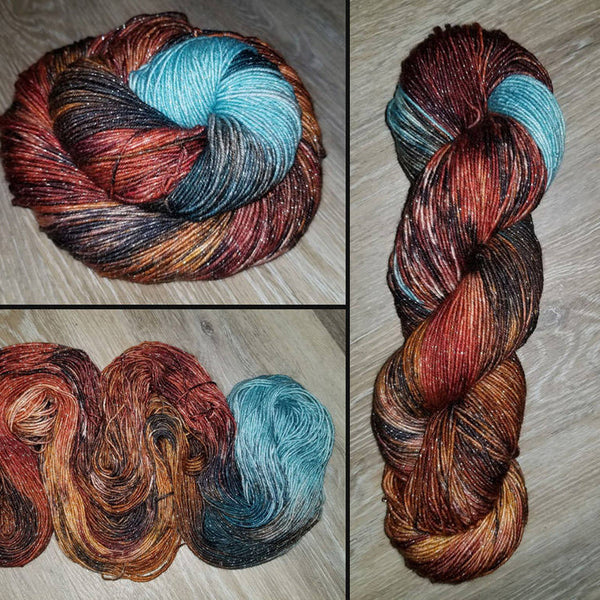 Earth & Sky - Hand dyed yarn - SW Merino Fingering Weight brown caramel blue