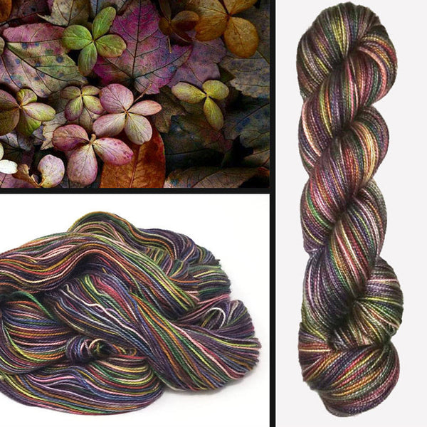 Fairy Carpet- Hand dyed yarn - SW Merino Fingering Weight brown green red  purple