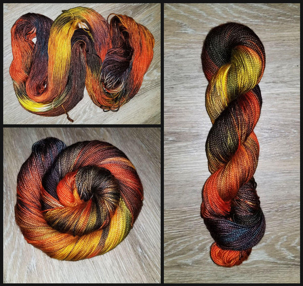 Farmers Market- Hand dyed yarn -SW Merino Fingering Weight  400+ yards - brown orange yellow