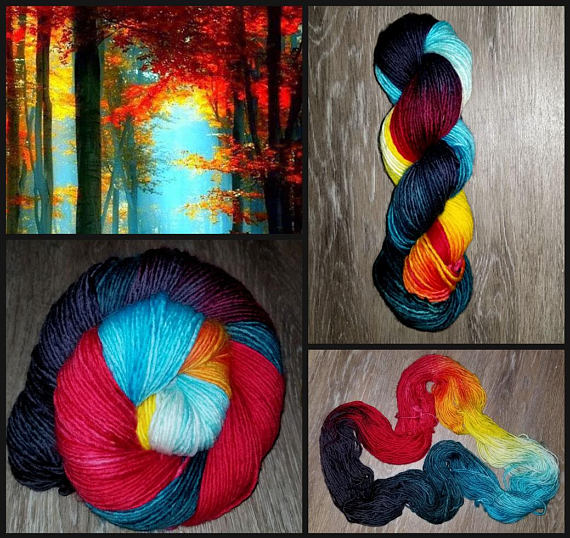 Fire & Ice- Hand dyed yarn - SW Merino 100g -Choose your base - black red teal white yellow